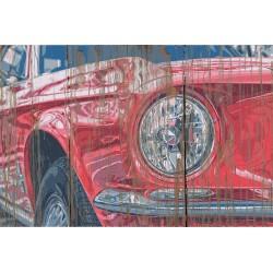 Panneau bois vintage Ford rouge