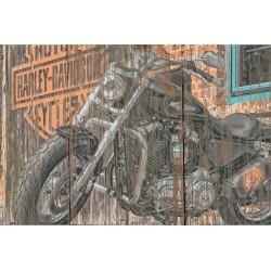 Panneau bois vintage Harley