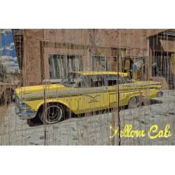 Panneau bois vintage Taxi Yellow Cab