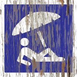"""Panneau bois vintage """"Plage parasol"""""""