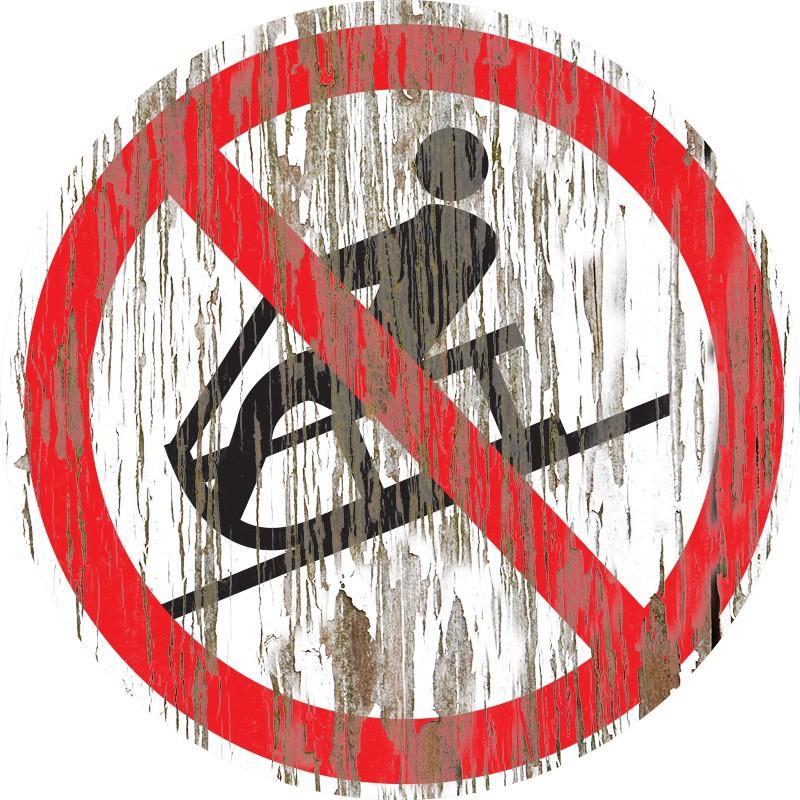 Panneau bois vintage Luge interdite