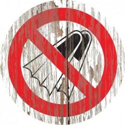 Panneau vintage bois Palmes interdites
