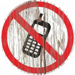 Panneau vintage bois téléphone interdit
