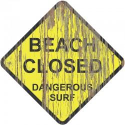 Panneau bois vintage plage fermée