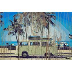 Panneau bois vintage Van Camper