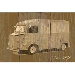 Panneau bois vintage Citroën HY