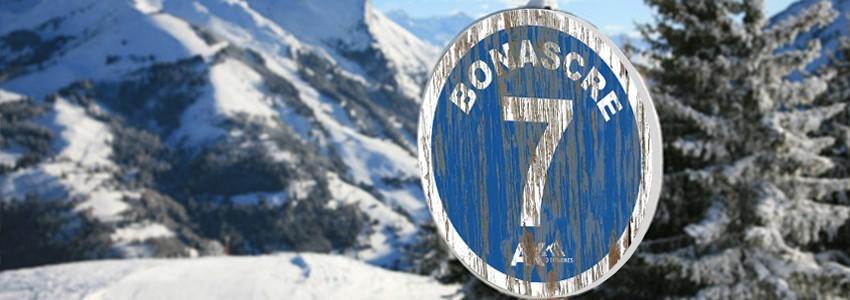 Panneau piste de ski bois Vintage