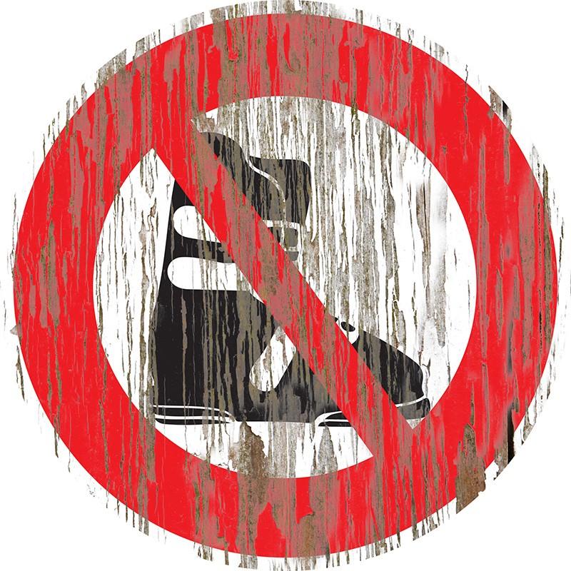 """Panneau bois vintage """"Chaussures de ski interdites"""""""