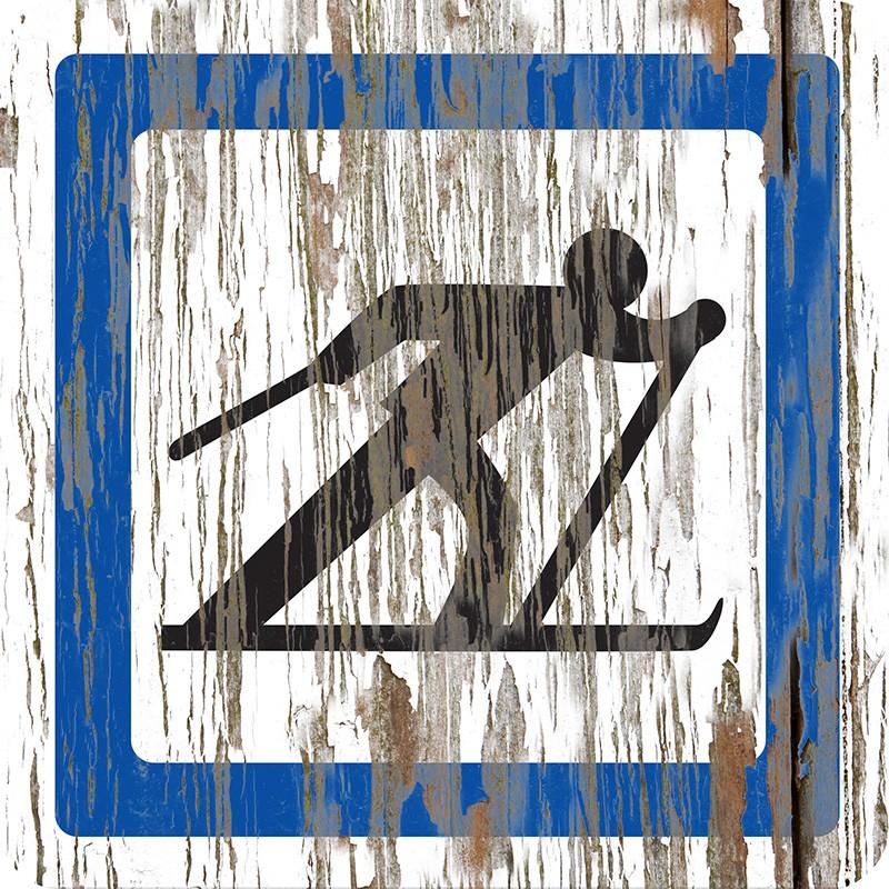 """Panneau bois vintage """"Zone de skis"""""""
