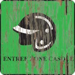 """Panneau bois vintage """"Entrée zone casque"""""""