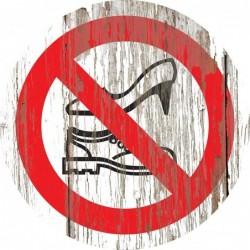 Panneau vintage bois Chaussures interdites