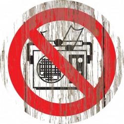 Panneau vintage bois musique interdite