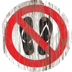 Panneau vintage bois tongs interdites
